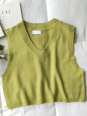 Casual Solid Color V-neck Sweater