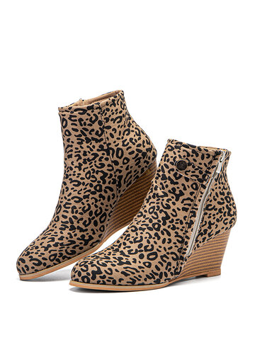 Leopard Zipper Wedges Pointed Toe Ankle Boots
