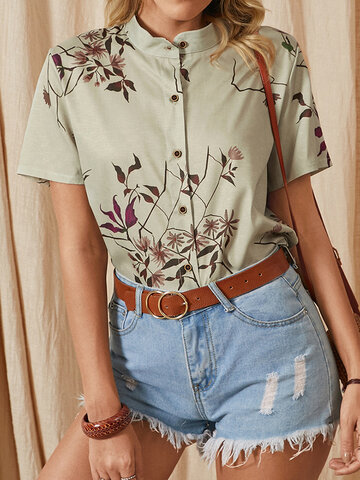 Flower Print Stand Collar Blouse