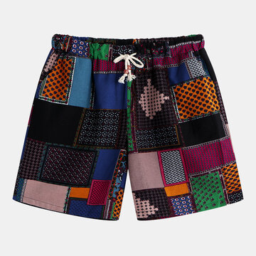 Colorful Pantaloncini larghi con stampa patchwork