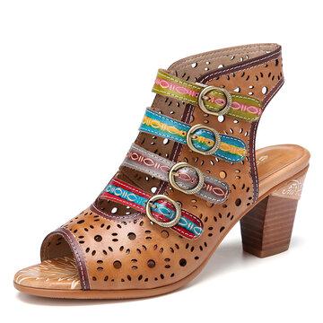 SOCOFY Bohemia Cutout Hook Loop Open Toe Backless Block Heel Comfy Heeled Sandals