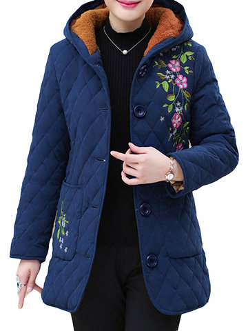 Cotton Casual Wear Padded Hooded Coat