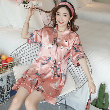 Ice Silk Kimono Pajamas Feminine Fresh Simulation Silk Two-piece Suit Cardigan Japanese Style Home Service Thin Section, Simulation silk crane maple leaf kimono