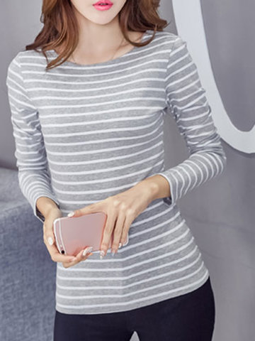 Striped O-neck Long Sleeve Slim Cotton Blouse, White black wine red purple dark grey light grey red green blue