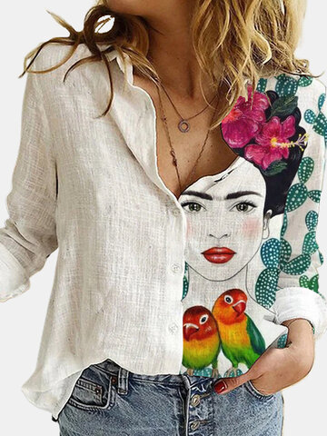 Cartoon Printed Lapel Blouse