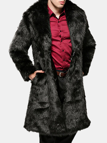 Men Thick Warm Faux Fur Coat