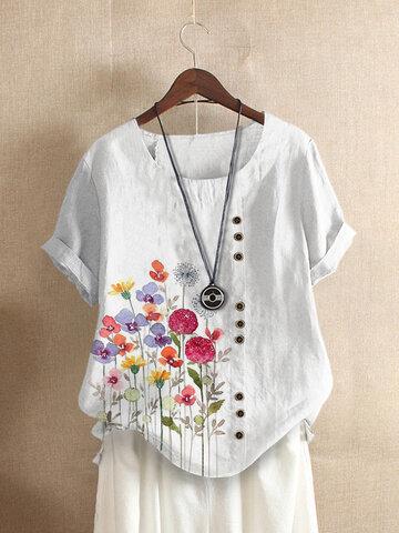 ボタンフローラルプリントOネックTシャツ