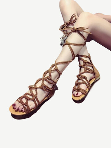 Gladiator Cross Lace Up Flat Sandals