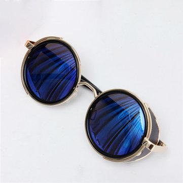 Унисек Стимпанк Винтаж Круглое Зеркальное Покрытие Панк Солнцезащитные Очки Lens UV400 Sunglasses
