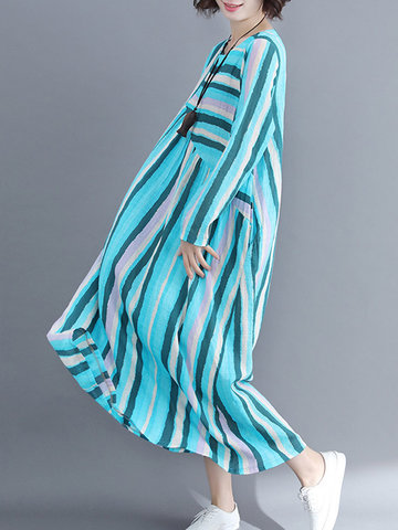 Colorful Striped Pockets Loose Dress, Green