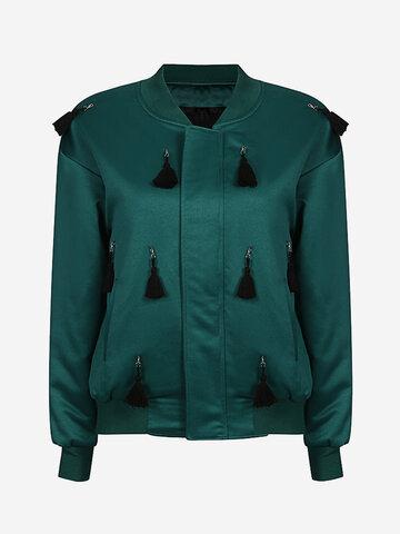 Women Casual Tassel Stand Collar Long Sleeve Jacket
