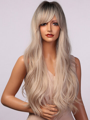 Gray White Wavy Curls Synthetic Wigs