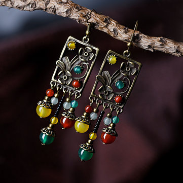 Ethnic Agate Tassel Earrings