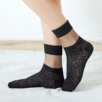 Hollowed-out  Mesh Cotton Middle Tube Socks