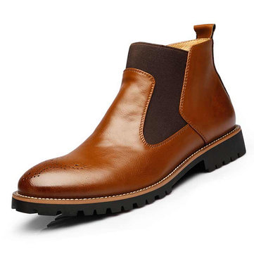 Men Vintage Genuine Leather Elastic Panels Boots