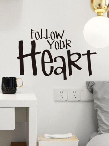 1PC Inspiration Quote Follow Your Heart Self-adhesive Removable Home Wall Decor For Living Room Office Bedroom Wall Sticker