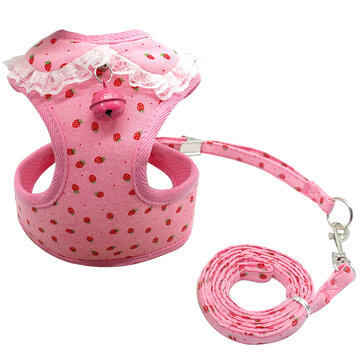 Pet Dog Cat Soft Mesh Harness Leash Set with Bell