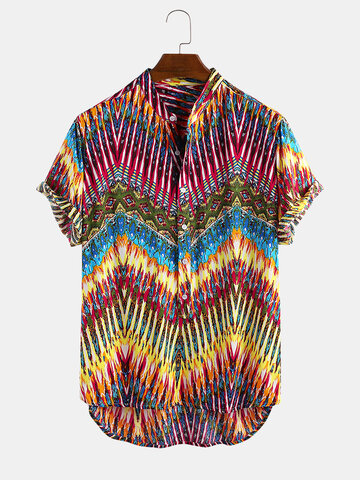 Ethnic Colorful Geometric Striped Printed Henley Shirt