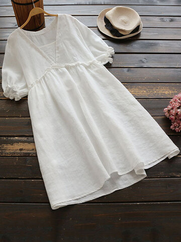 Vintage Ruffle Cotton Mini Dress