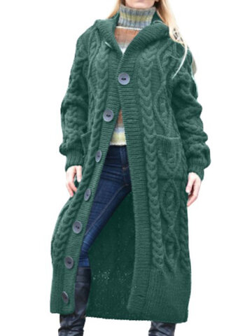 Ribbed Long Hooded Sweater Coat