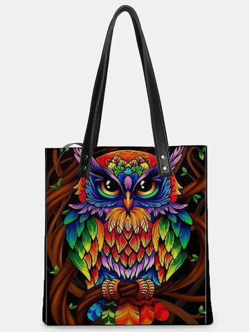 Color Owl Print Pattern Leather Tote Bag