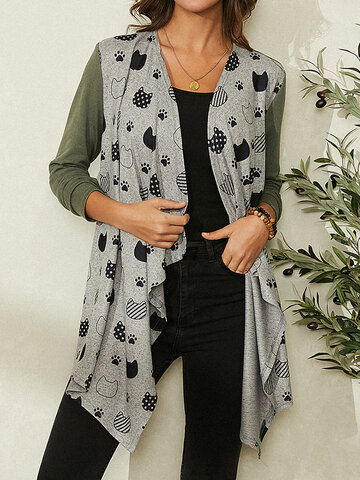 Cartoon Cat Print Patchwork Cardigans