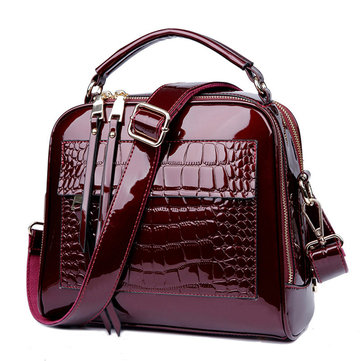 Patent Leather Crocodile Pattern Leisure Crossbody Bag