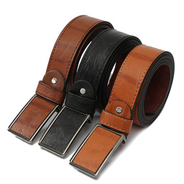 Mens Genuine Leather Vintage Metal Automatic Buckle Waist Band Strap Belt