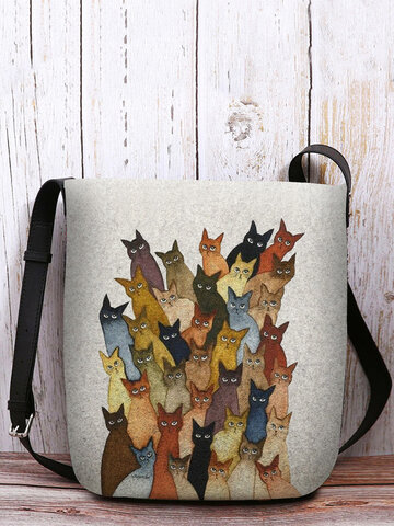 Felt Cartoon Cats Print Casual Crossbody Bag