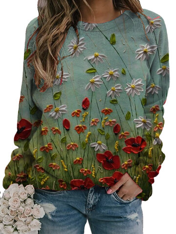 Flower Print O-neck Sweatshirt