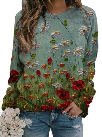 Flower Print O-neck Sweatshirt
