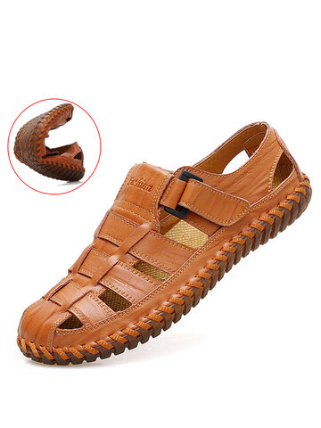 Men Cow Leather Hand Stitching Sandals