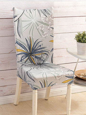 One-piece Waterproof Flowers Prints Elastic Stretch Chair Cover Universal Size Slipcovers Seat Cover For Dining Room Banquet Hotel