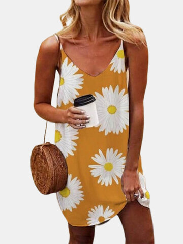 Daisy Floral Printed Straps Dress