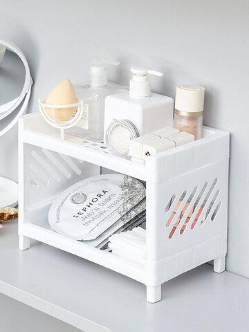 1PC Double-layer Hollow Room-saving Plastic Desktop Bathroom Storage Rack Cosmetic Organizer 2 Tier Shelf Holder