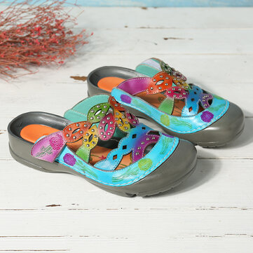 Leather Hand Painted Flowers Sandals
