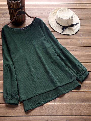 Casual Solid Color Lantern Sleeve Baggy Shirt