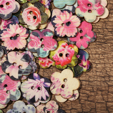 زهرة على شكل أزرار خشبية الديكور الخياطة