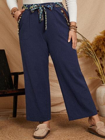 Cinta Étnica Vintage Pantalones