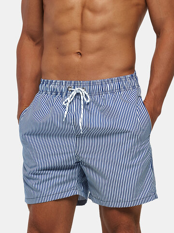 Blue Striped Beach Surfing Mesh Line Shorts