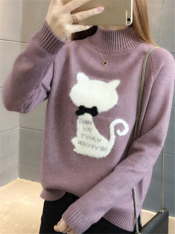 Cat Printed O-neck Loose Pullovers Sweater, Purple