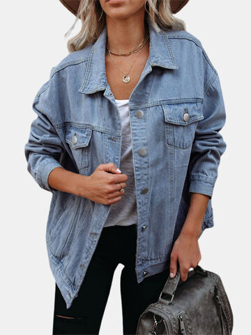 Casual Solid Color Demin Jackets