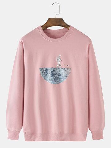 Cotton Solid Color Space Print Sweatshirt