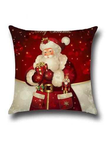Retro Cartoon Christmas Santa Printed Throw Pillowcases