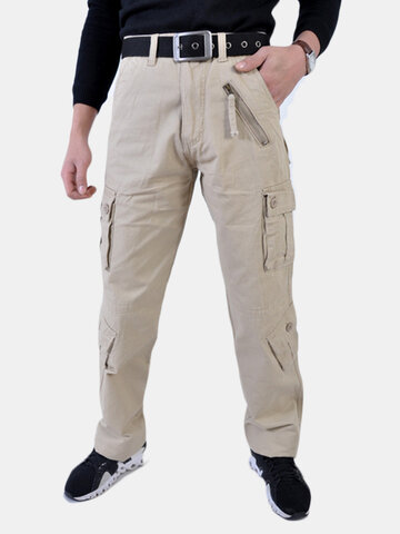 Multi-pocket Business Casual Straight Cargo