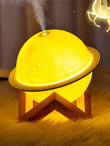 1PC Healing Planet Shape Moon Light Humidifier Air Cleaner Table Bedroom Night Light