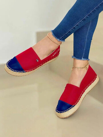 Color Splicing Stitching Espadrilles Loafers