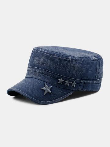Men Denim Embroidery Print Military Hat
