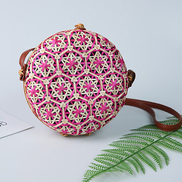 Women Bamboo Bohemian Style Beach Bag Round Shoulder Bag