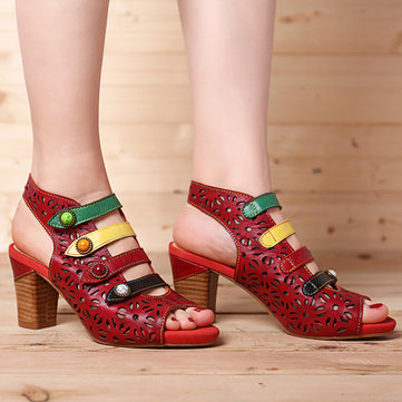 Klettverschluss aus Leder Sandalen